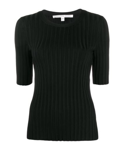 Veronica Beard Black Dillon Ribbed Pullover Sweater