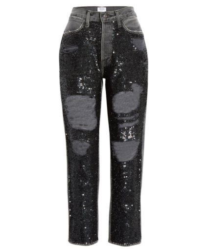 Frame sequin distressed straight jeans