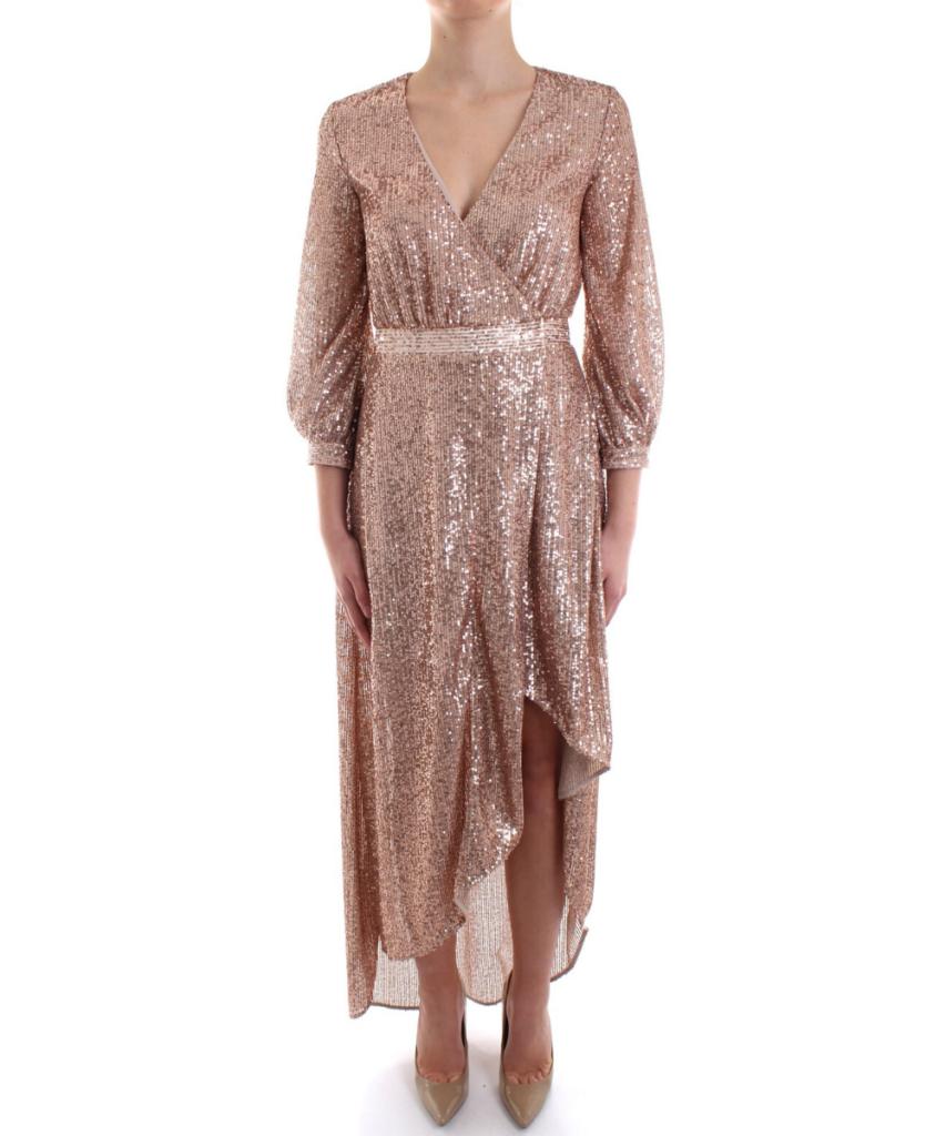 Sequin Wrap Dress - Rose Gold