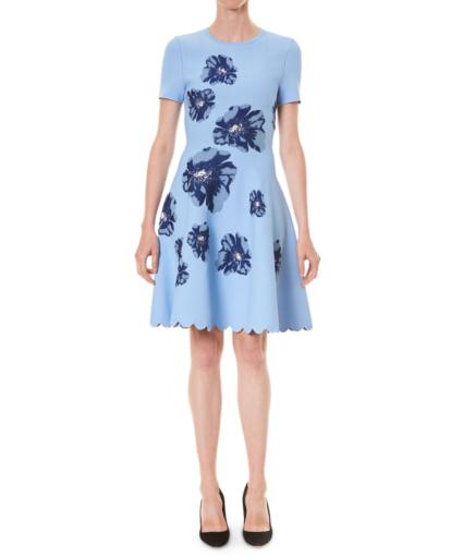Short-Sleeve Fit And Flare Dress Marina Carolina Herrera