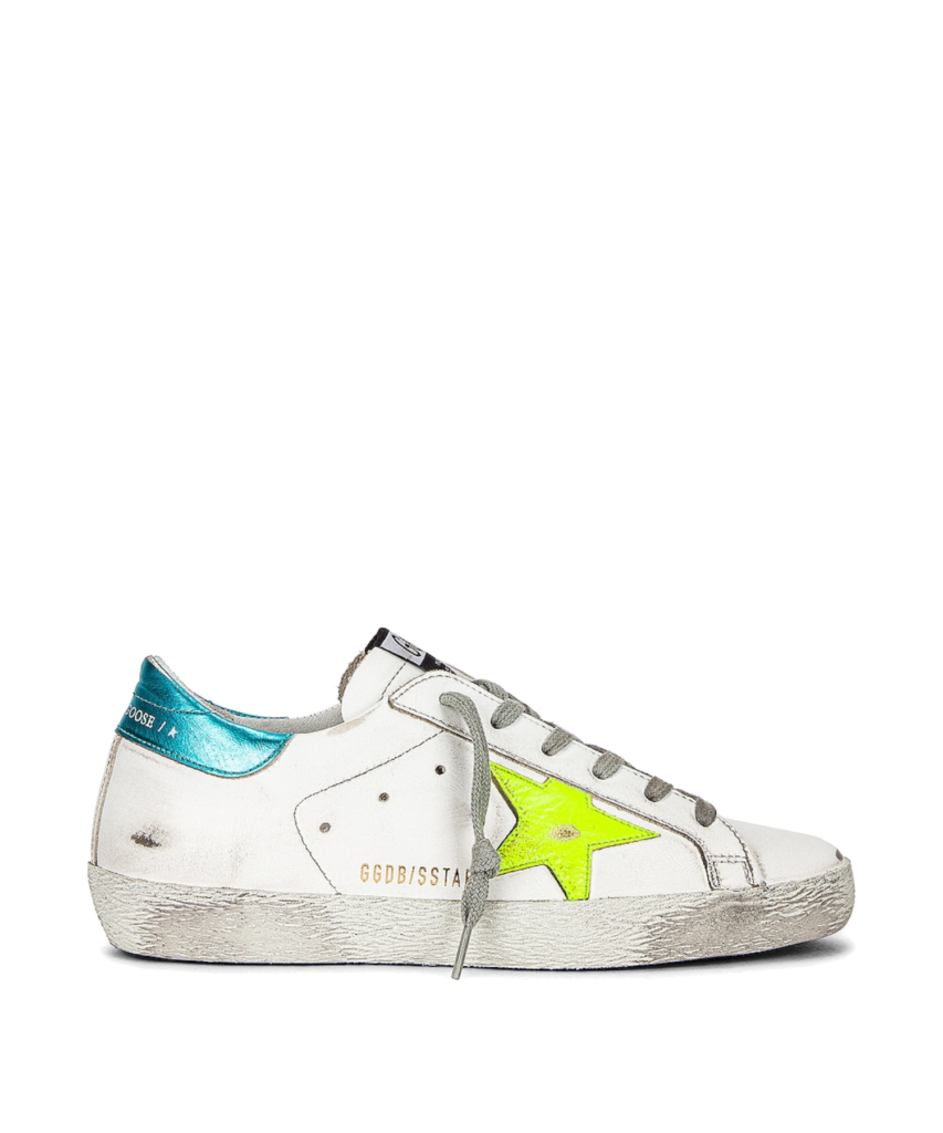 superstar sneaker neon yellow turquoise white superstar