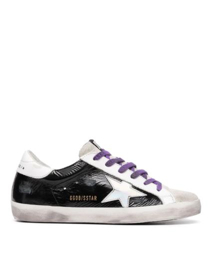 superstar sneaker purple patent black suede golden goose