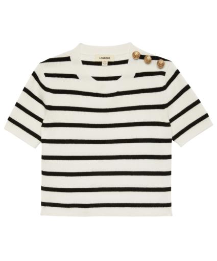 delphine sweater white black stripe l'agence