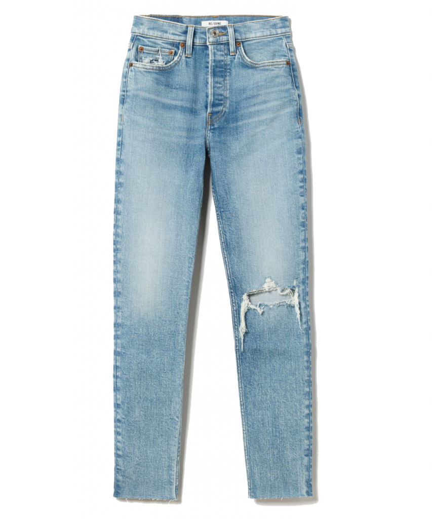 90s High Rise Ankle Crop Jean worn bright blue redone