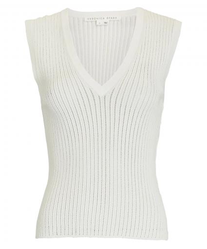 Sid Sleeveless V-Neck Pullover Ivory Veronica Beard