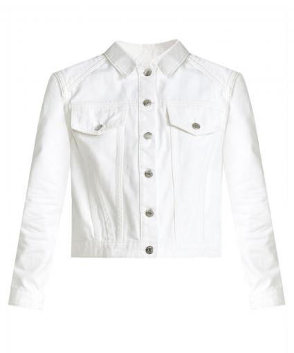 dottie strong shoulder jean jacket white veronica beard
