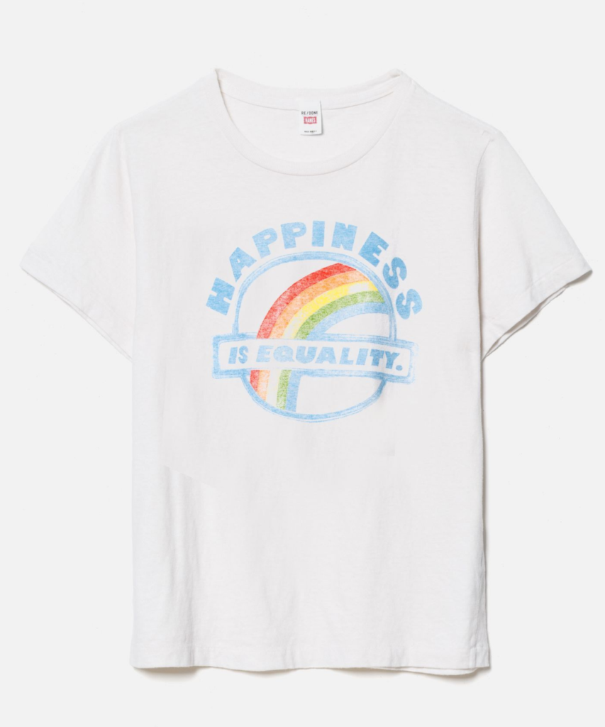 equality happiness tee vintage white redone