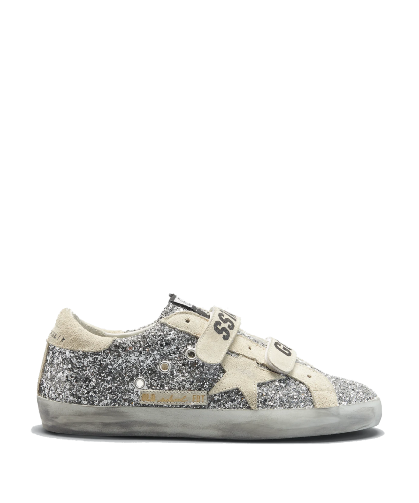 old school sneaker silver glitter beige suede