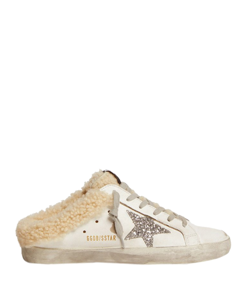 sabot shearling mule sneaker white silver golden goose