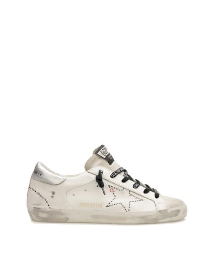 superstar sneaker white black silver logo laces heart love golden goose