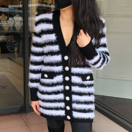 tamika cardigan black white stripes ronny kobo