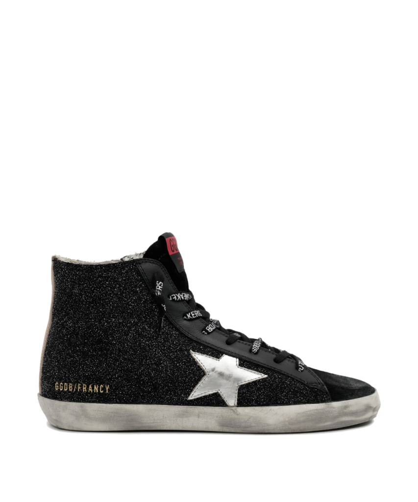 francy high top sneaker black glitter golden goose