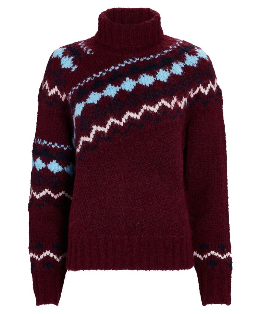 grammer fair isle turtleneck sweater burgundy powder blue derek lam 10 crosby