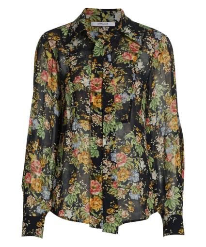 irene button blouse tie neck black multi derek lam 10 crosby
