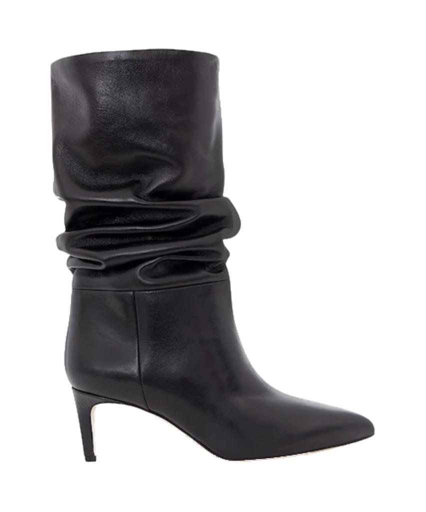 60mm slouchy boot black leather croc heel paris texas