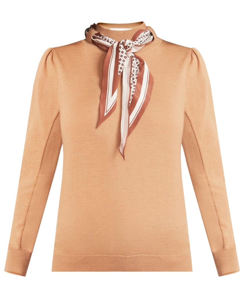Essenza Scarf Accent Sweater Camel Veronica Beard