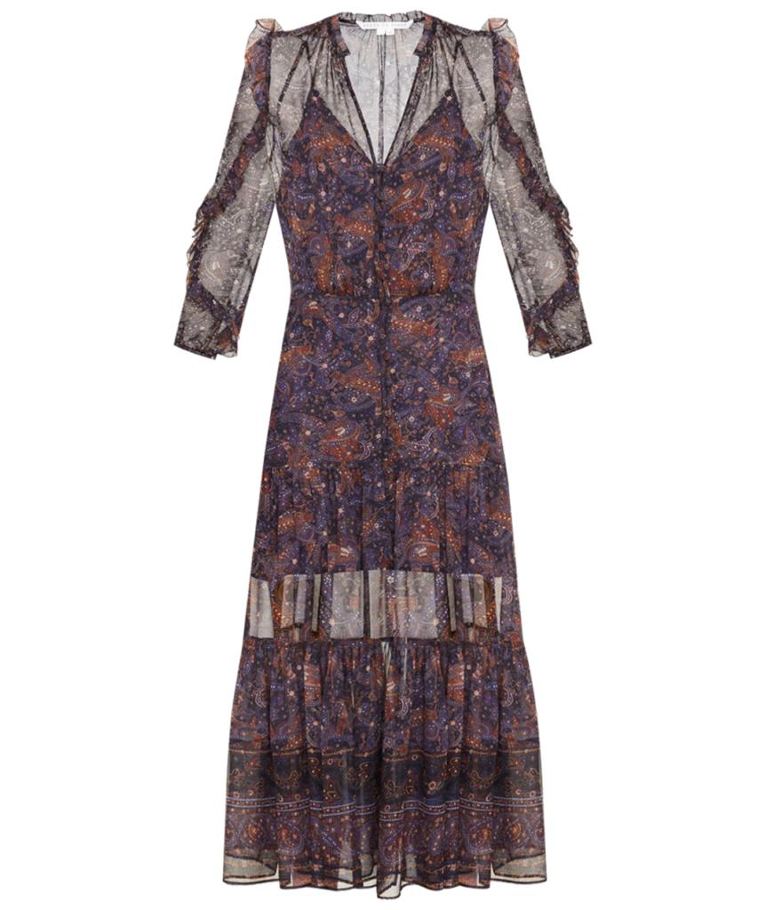 Sabina Vintage-Print Dress Black Multi Veronica Beard
