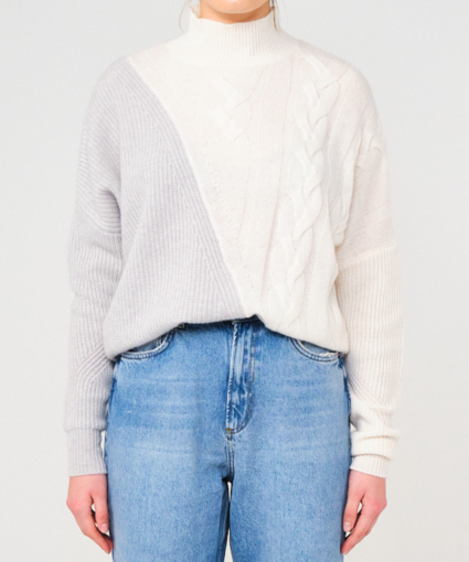 Sophia Cable Jumper Grey White Brodie Cashmere