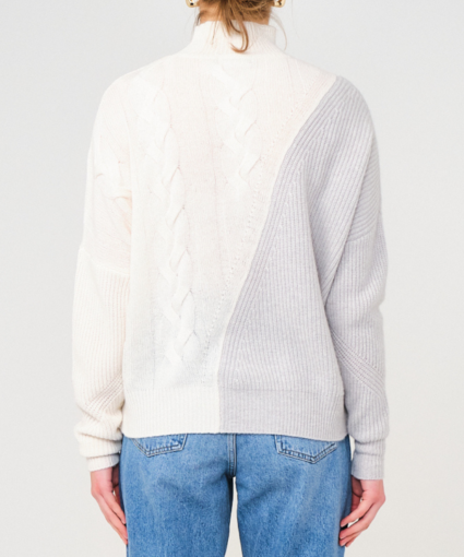 Sophia Cable Jumper Grey White Brodie Cashmere Back
