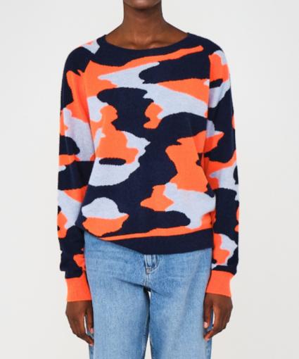 coco camo cashmere sweater navy blue mist neon orange brodie