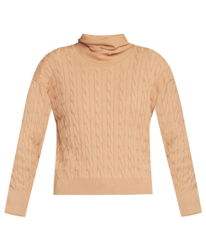 lova cable knit pullover sweater camel veronica beard