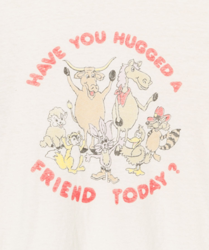 70s Loose Tee Hug A Friend Vintage White ReDone Close Up