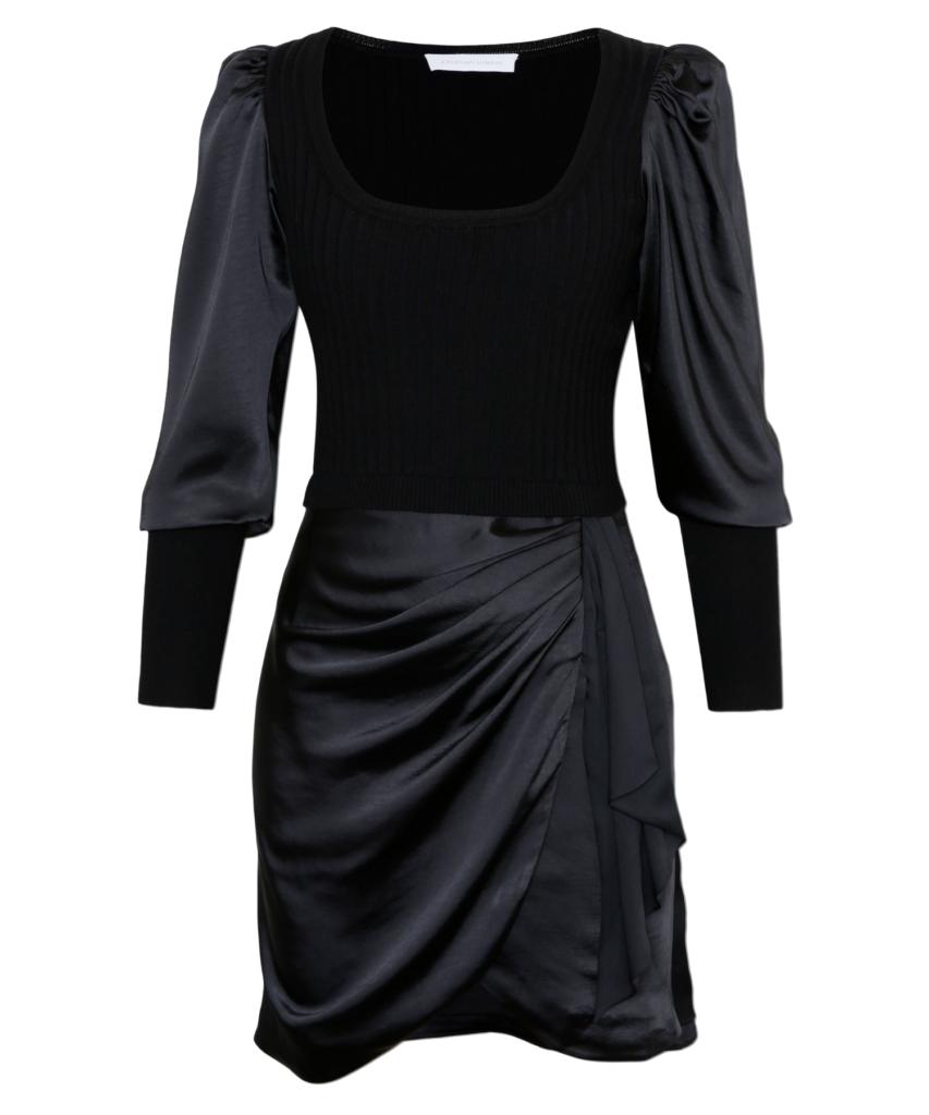 Gloria Puff Sleeve Knit Mini Dress Black Jonathan Simkhai
