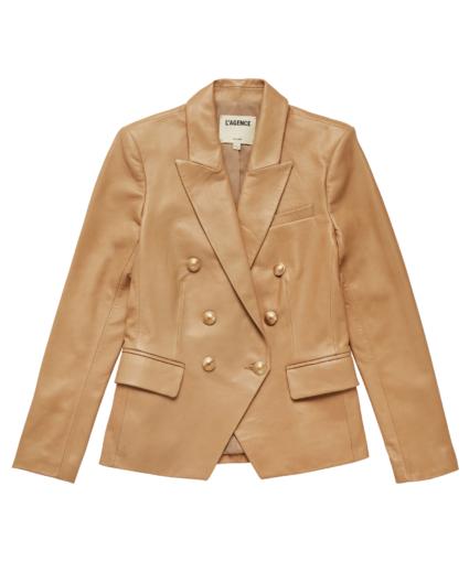Kenzie Leather Blazer Camel L'Agence