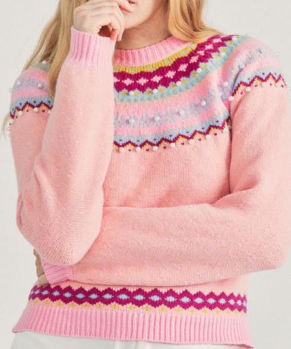 crawley fairisle pullover sweater berry smash loveshackfancy