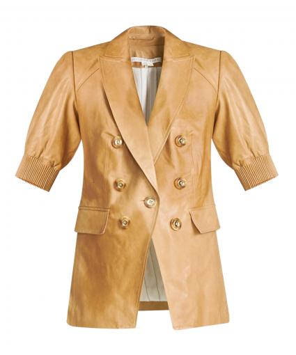 edra leather dickey jacket khaki veronica beard