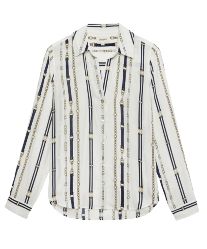 holly blouse ivory navy chain buckle print l'agence