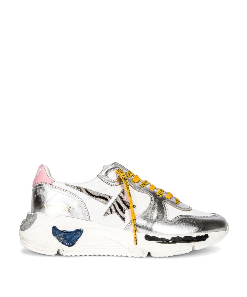 running sneaker silver white yellow zebra golden goose