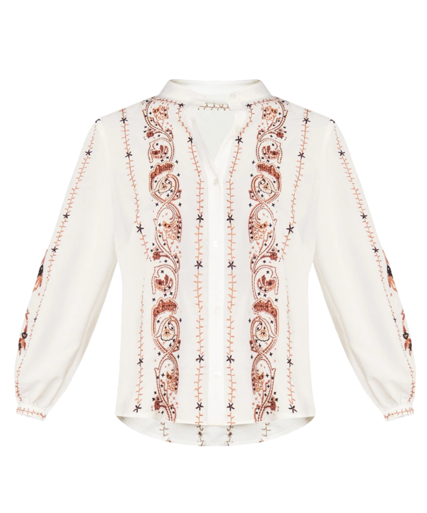 tiane embroidered blouse off white multi veronica beard