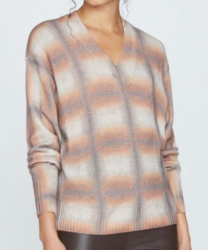 millie vee print sweater laramie ombre plaid brochu walker