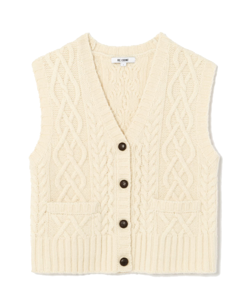 50s cable knit cardigan vest ivory redone