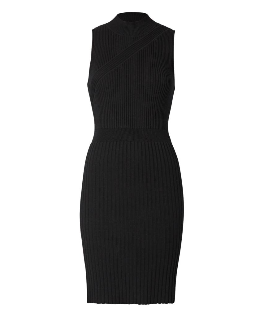 Chevron Ribbed Dress Black Milly