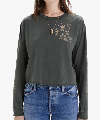 The Long Sleeve Slouchie Cutoff Kiss and Make Up Mother Denim