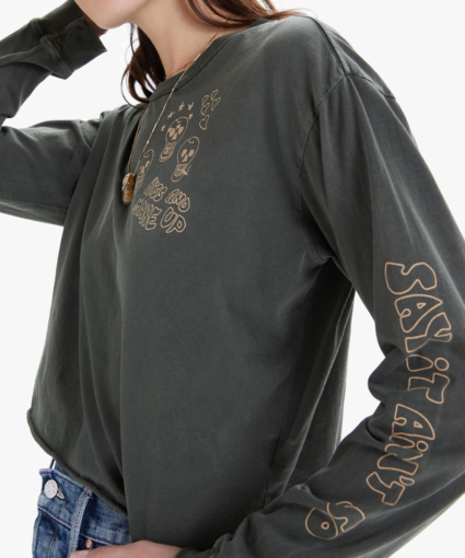 The Long Sleeve Slouchie Cutoff Kiss and Make Up Mother Denim Sleeve