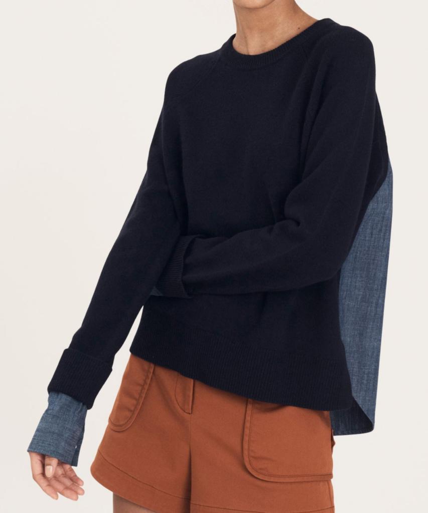 louisa mixed media sweater navy derek lam 10 crosby