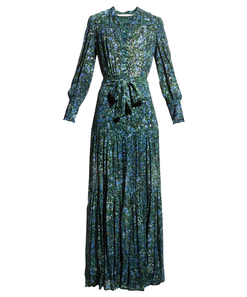 maidens maxi dress marble green blue veronica beard
