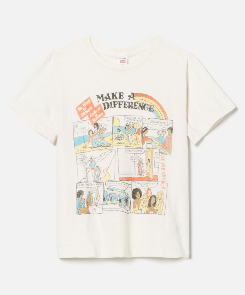 make a difference tee vintage white redone