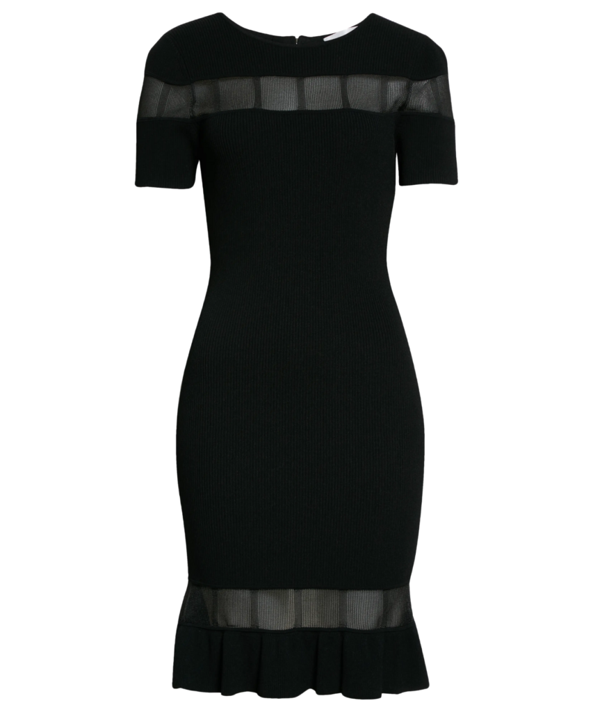 sheer inset fitted knit dress black milly
