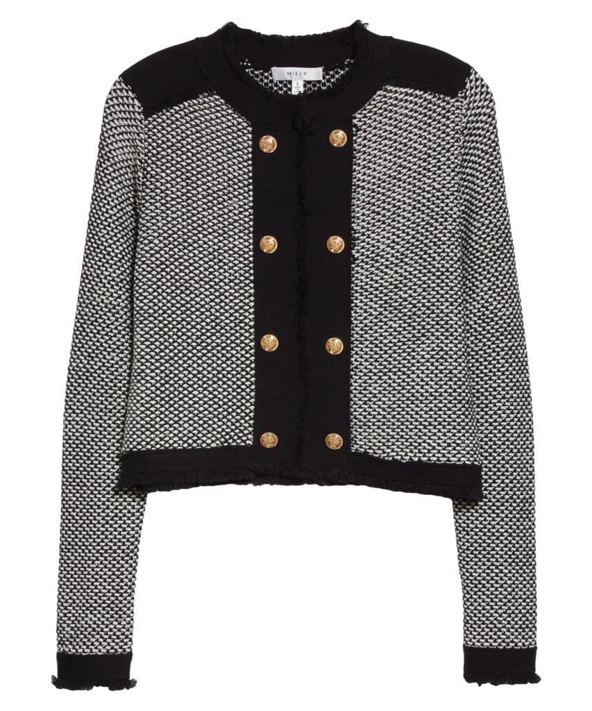 textured cardigan jacket black ecru milly