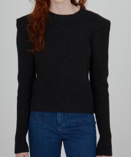 Shaker Power Shoulder Crew Sweater Black Autumn Cashmere