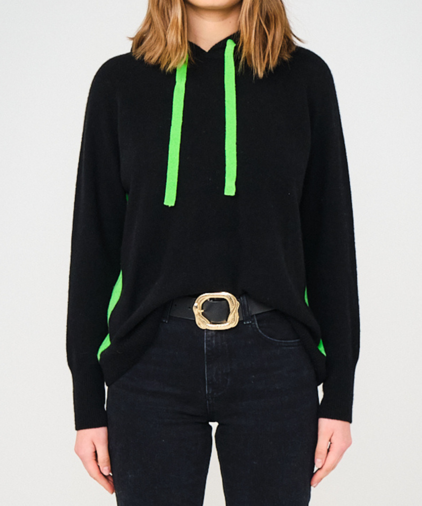 contrast hoodie black neon green brodie cashmere