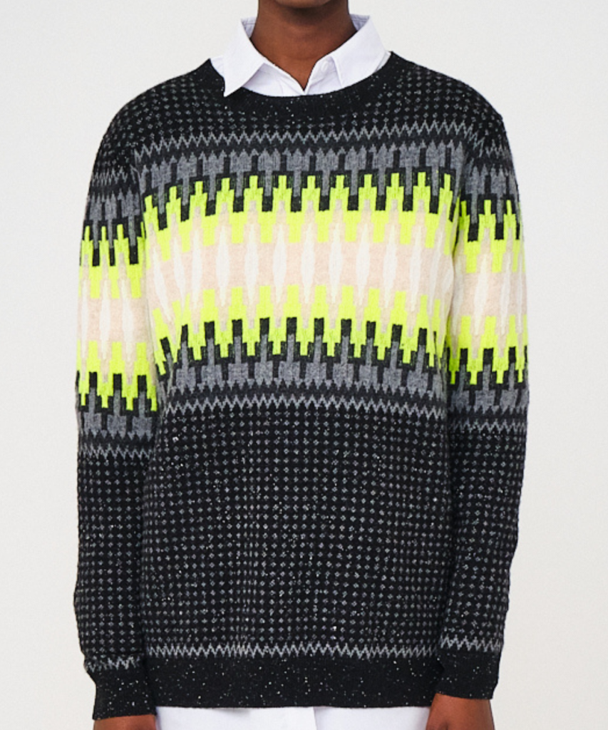 electric fairisle jumper tinder neon yellow brodie cashmere