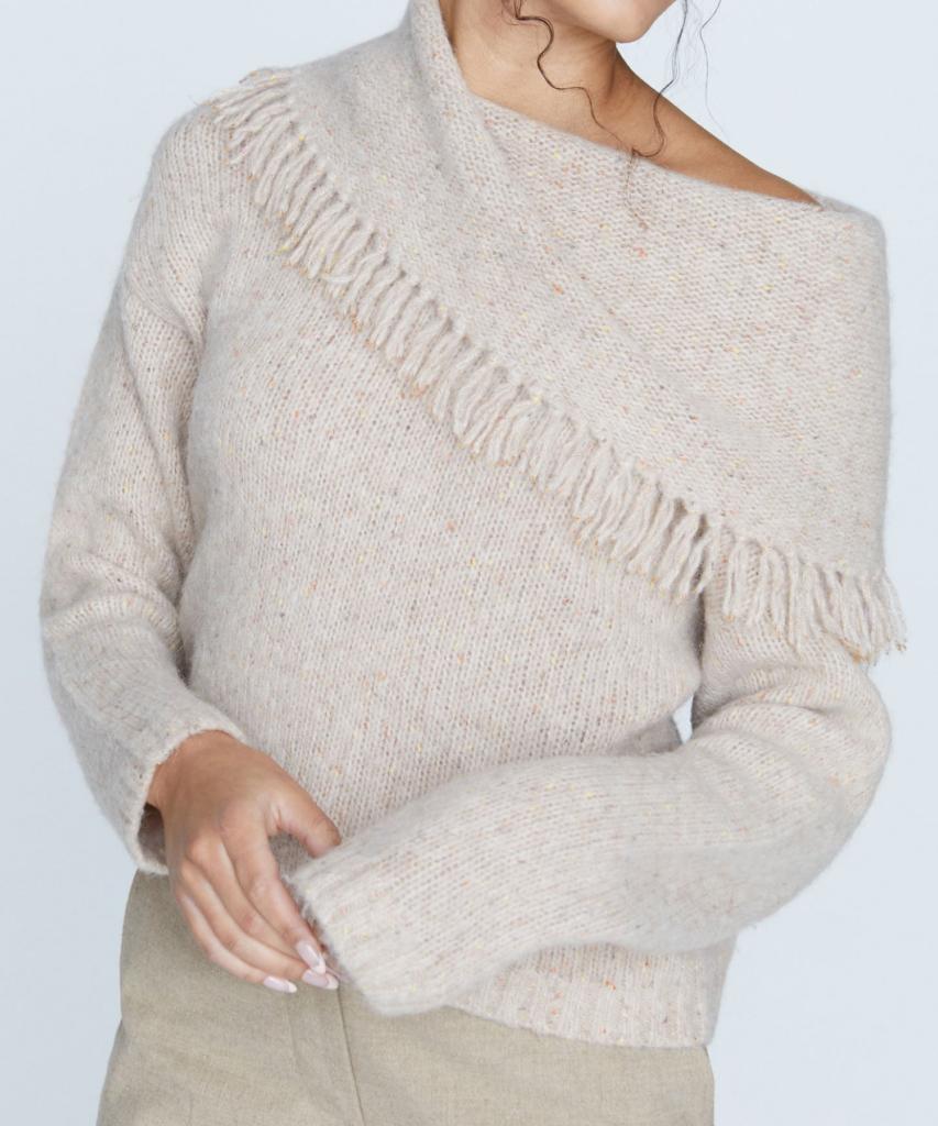 lewes fringe off shoulder sweater dulce multi brochu walker