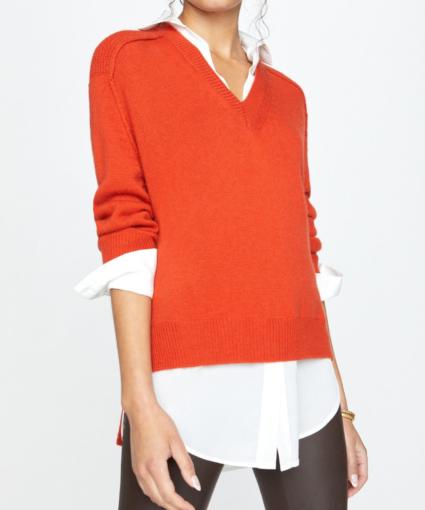 the looker v-neck layered sweater cardamom white brochu walker