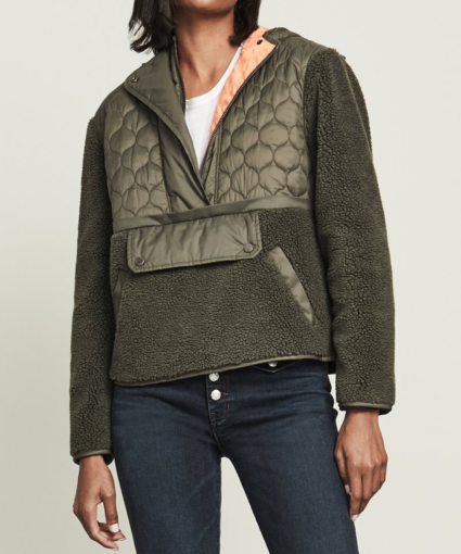 Leo Sherpa Quilted Pullover Army Green Veronica Beard